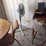 The fan did little to cool hot and stuffy room on fifth floor.