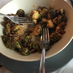 Carmalized Brussels sprouts with candy pecans