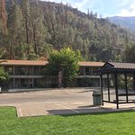 View of our building of Cedar Lodge Yosemite, taken from beach/picnic area across the highway.