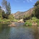 Merced River beach area across from Cedar Lodge Yosemite in El Portal, CA