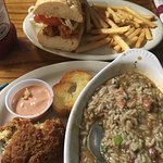 Ponchatoulas Special with crab cake, gumbo. Peacemaker PoBoy.
