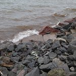 This is the rocky shoreline of Lake Superior at the resort.