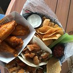 Grouper tacos and wings - nice combo