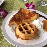 Macadamia nut french toast and waffles!