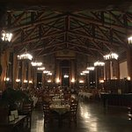 Inside the Majestic Yosemite dining room, from the entrance, night