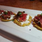 These are the greatest appetizer of all time!!!!  Tuna Tostones!?!?!?  Amazing and perfect!!!