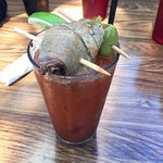 Bloody Mary with Brisket-wrapped-in-Pork Garnish