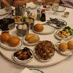 Dim sum on a lazy Susan turntable made it easy to reach.