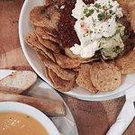 Beef nachos and pumpkin soup