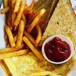 Omelette, toast and fries