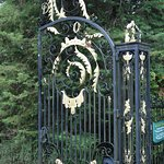 The fabulously extravagant gates to the property