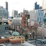 View of Flinders Street Station, St Paul's Cathedral and Federation from one of our balconies.