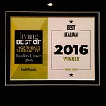 Voted best Italian restaurant in Northeast Terrant county 2016