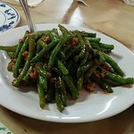 String beans with mince meat