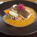 Dos de cabillaud, riz façon risotto et sauce chorizo