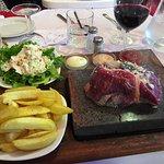 Great fillet steak on a stone