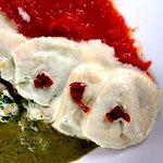 Ricotta Spinach Ravioli Tricolore, with Pesto, Tomato & Cream Sauces