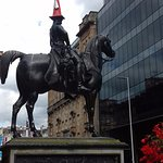 The Duke of Wellington with a traffic cone on his head in Glasgow City centre