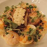 Fish pie deconstracted with hake, prawns, & clams