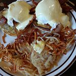 Smoky bacon eggs benedict and hash browns