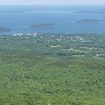 View of Bar Harbor from top of Caddillac Mt in Acadia National Park