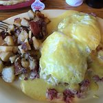 Delicious! Eggs Benedict w homemade hash was huge and flavorful. Blueberry pancake was great. Bo