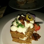 Carrot cake and a lamb burger