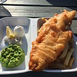 Fish, chips and crushed minted peas were delish