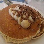 Classic egg Benedict + banana pancake and pecan