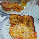 Tortellini & garlic bread along with their burger and fries