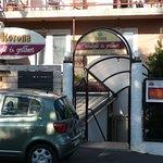 Eingang zum Restaurant/Frühstücksraum im Souterain