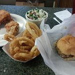 Burger, chicken, onion rings and Slaw.