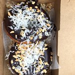Donut of the day: chocolate glaze with peanuts and coconut shavings