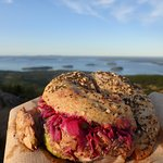 Rosa Lisa Sandwich-Wheat 3 seed bagel with cumin chicken, avocado and slaw.