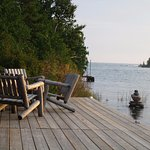 Part of the dock with Lake Huron.