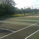 These are the tennis courts Cracks, weeds, holes in nets ,broken nets