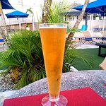 A refreshing beer on the pool deck