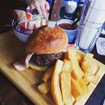 8oz burger of Exmoor beef – bacon - Brioche bun – house chips – salad