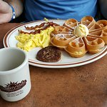 Sampler C, Eggs Benedict and Waffle combo