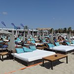 VIP beds at Nassau beach club
