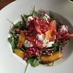 Delicious goats cheese and pomegranate salad