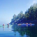 Paddling on waters of glass enjoying beautiful rugged scenery