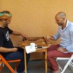 Michel playing backgammon :)