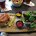 Guinness burger and salad house made apple cider dressing. Wow Juicy perfection. Grilled red pep