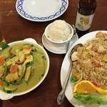 Green curry and pineapple fried rice