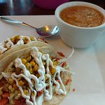 Overloaded Salmon Tacos with the cold Cantaloupe Strawberry soup.