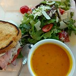 Club sandwich, side salad and the hot Carrot and Dill soup.