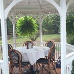 Outdoor patio with two gazebos