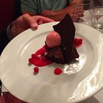 chocolate cake with redcurrant mousse