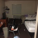 pic of room/hotel comforter where placed in bags by us/trash basket empty.
